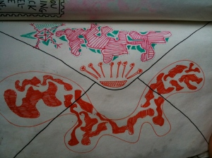 Doodle on the envelope page of Wreck This Journal