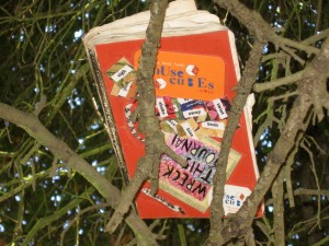 My wrecked journal with new cover watching over me in the branches of a tree.
